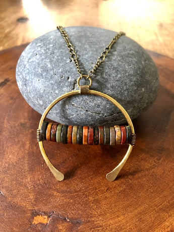 Red Creek Jasper on Hammered Bronze Hoop