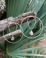 Moonstone Raw Brass Hoops