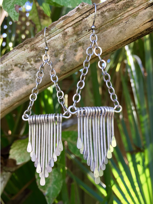 Antique Silver-plated fringe earrings