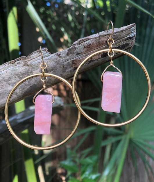 Pink Opal Gold-plated Hoops