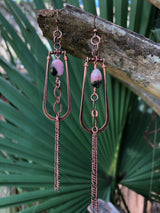 Pink Opal + Copper Hoops