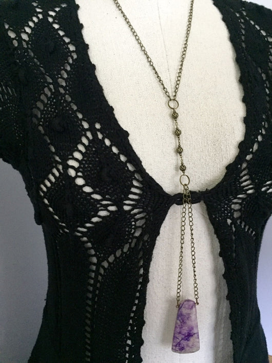 Quartz Dyed Purple Pendant Necklace