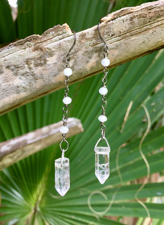 Quartz Crystals + White Crystals Chain