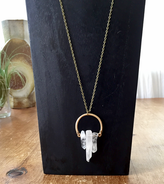 Quartz Crystal Points on Antique Gold-plated frame necklace