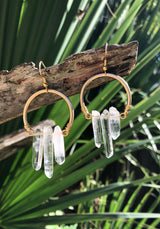 Quartz Points on Antique Gold-plated Half-Hoops