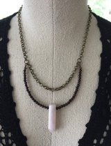 Rose Quartz + Brecciated Jasper Necklace