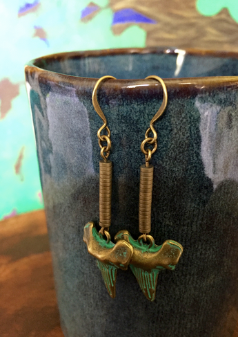 Patina Green Brass Shark's Teeth with Hematite heishi beads