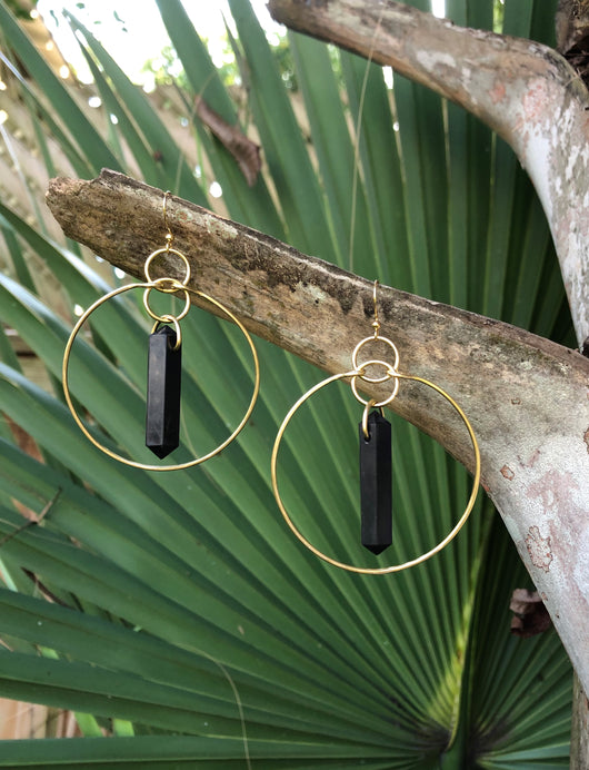 Shungite Points on Brass Hoops
