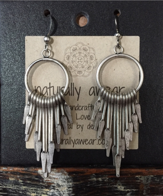 Bohemian antique silver-plated earrings