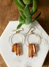 Sunset Crystal Points on Gold Hoops