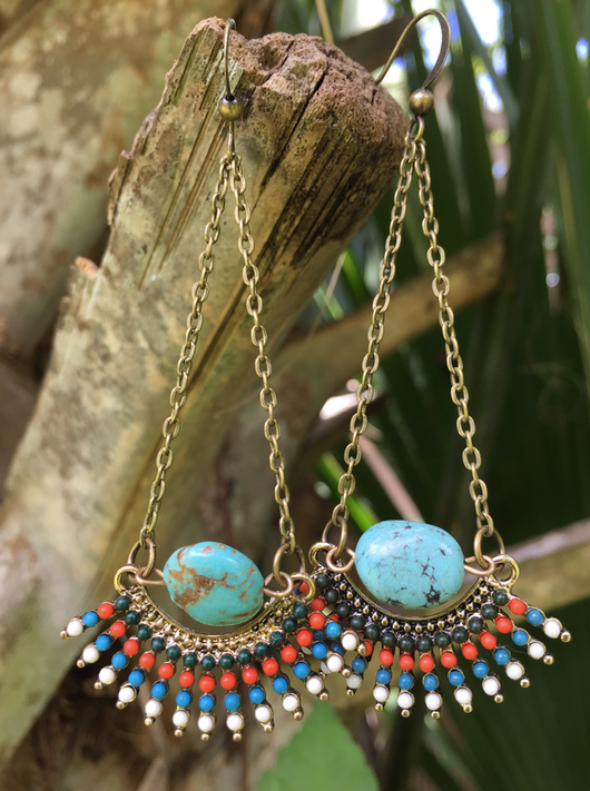 Tribal fringe + turquoise earrings