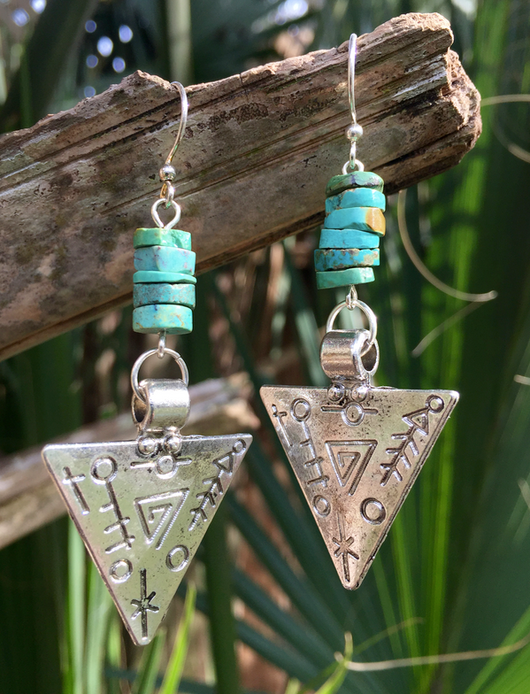 Antique Silver-plated Tribal Triangles with Turquoise Heishi