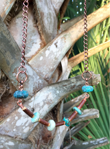 turquoise + coconut shell crescent necklace
