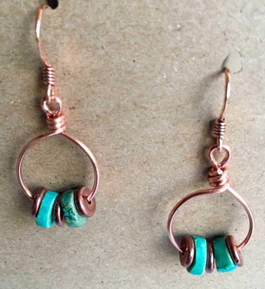 Copper hoops with copper + turquoise (dyed) heishi beads