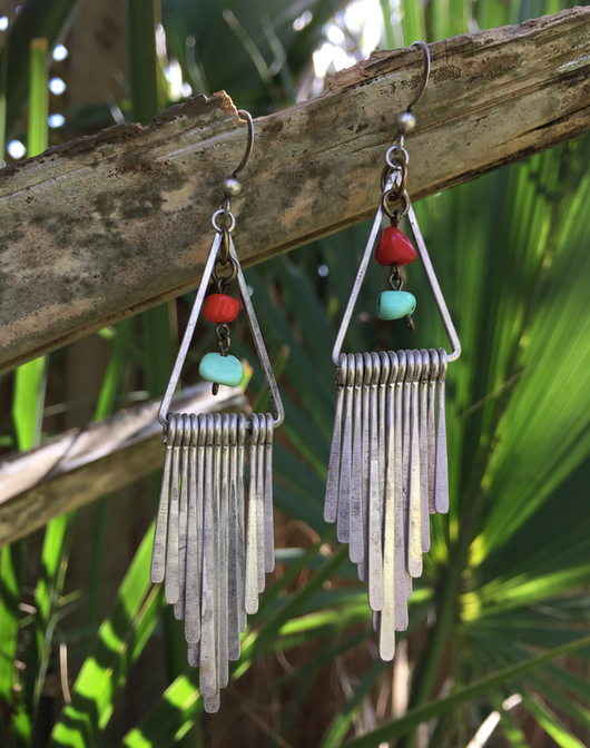 Turquoise + Antique Silver-plated Earrings
