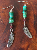 nature inspired turquoise heishi + feather earrings