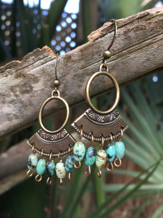 Turquoise Ring Fan Drops