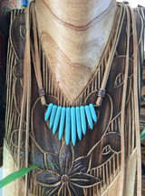 turquoise blue magnesite leather wrap