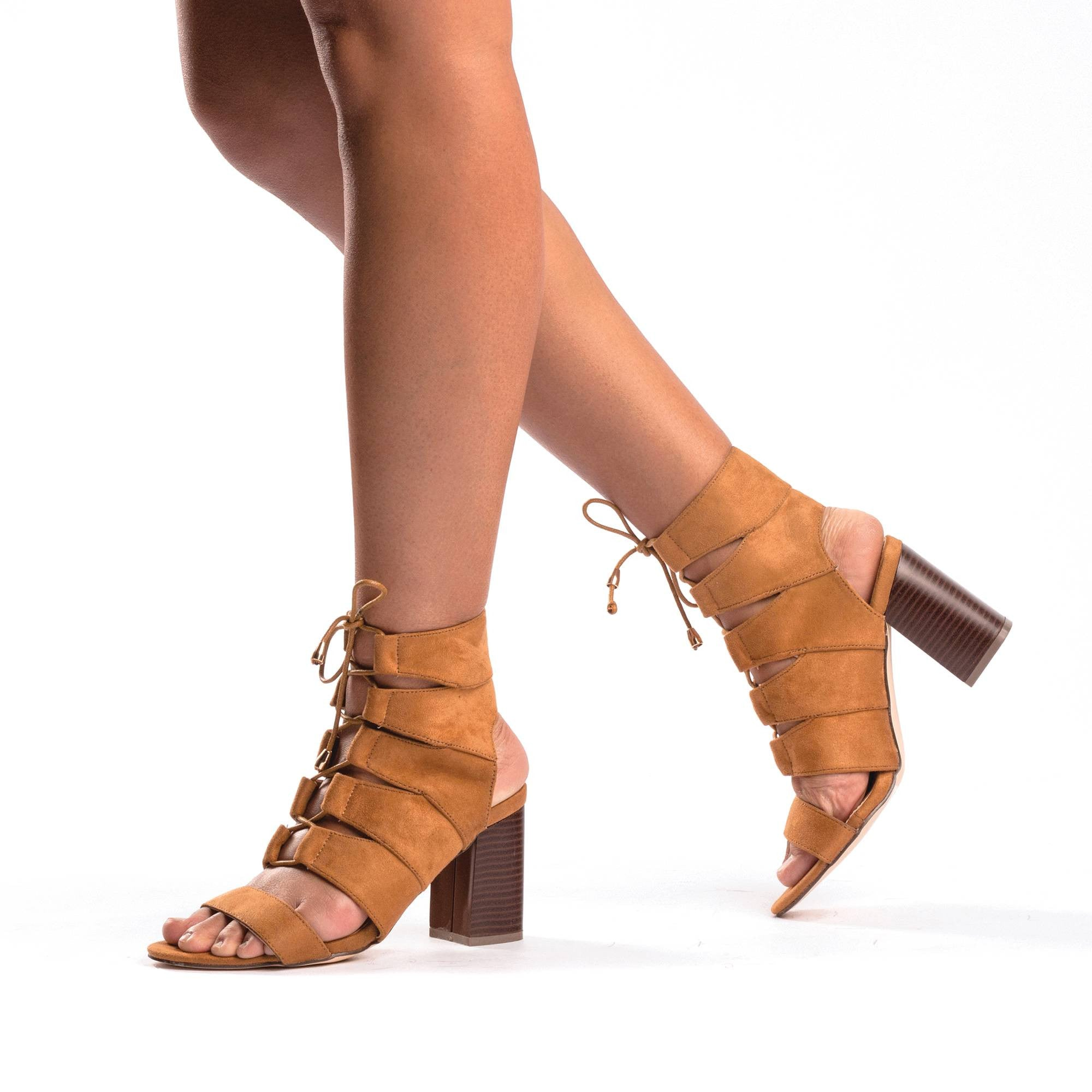 MAE Lace-Up Block Heel