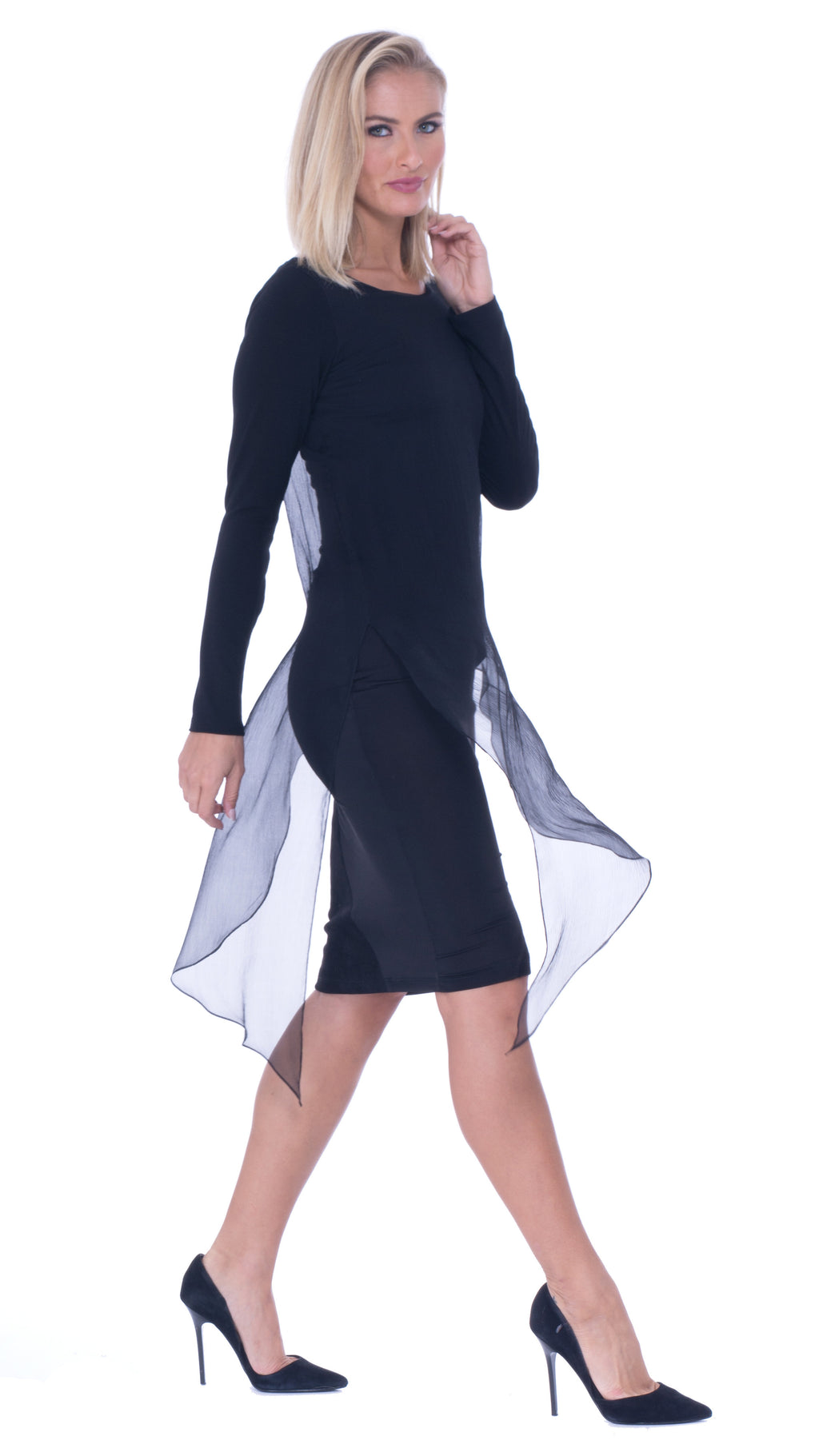 Ariel Over layered Boat Neck Dress