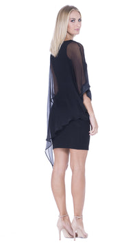 Ariel Asymmetrical V-Neck Draped Dress