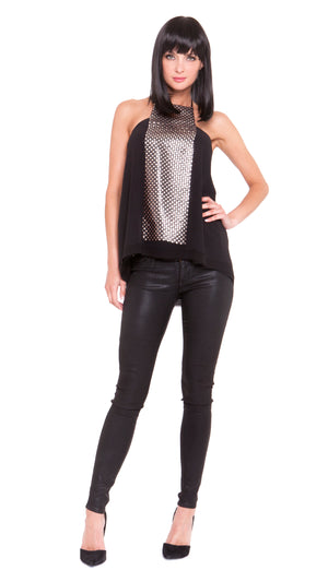 Luna Sequin Square Halter Top