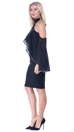 Elle High Neck Cold Shoulder Dress