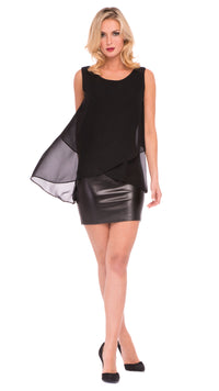 Marian Cross Over Pleather Dress