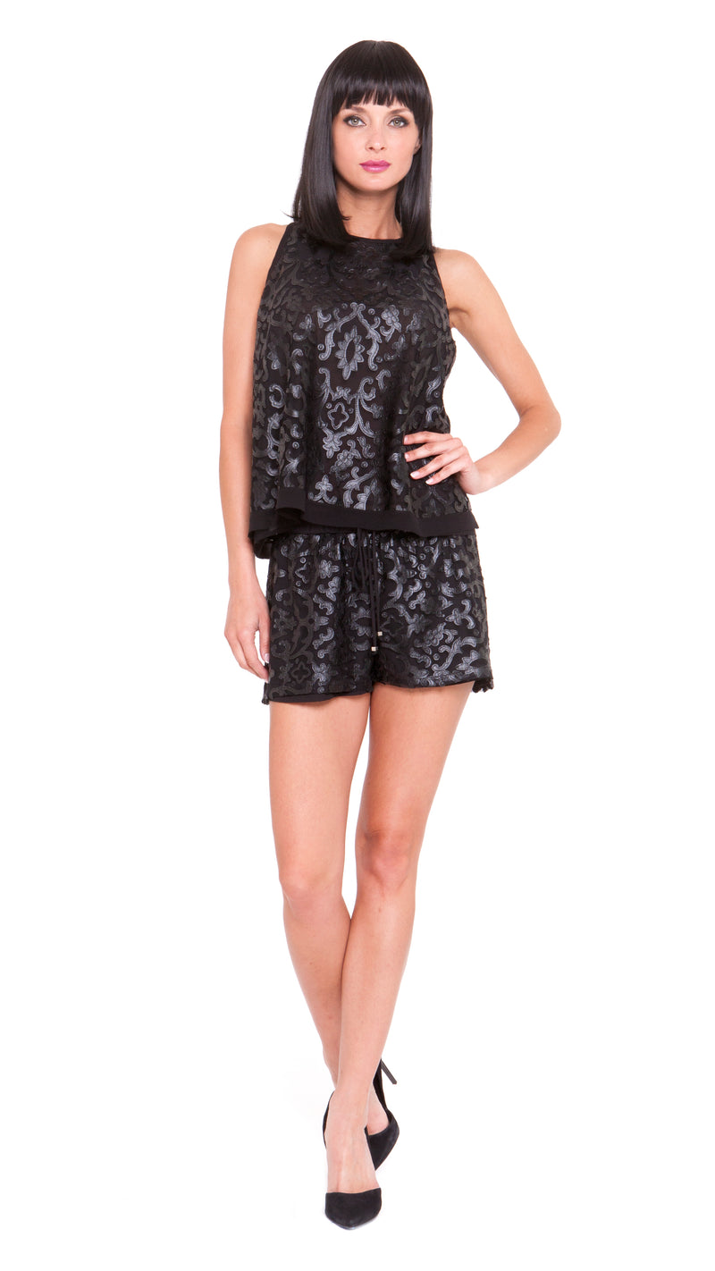 Dylan Pleather Lace Flare Top