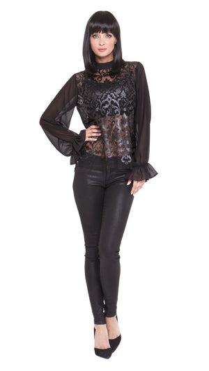 Z Dylan Pleather Lace Long Sleeve Top