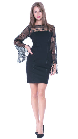 Analice Fringe Sleeve Dress