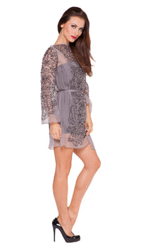 Elane Silk Embroidered Shift Dress