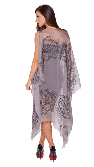 Elane Silk Embroidered Open Drape Dress