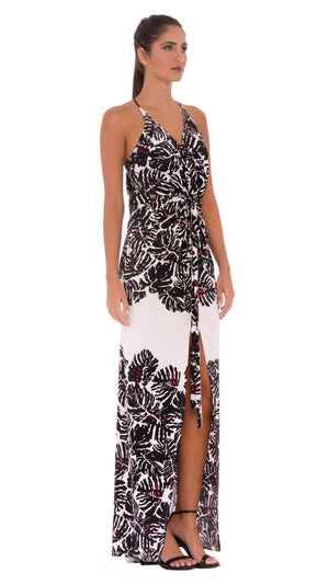 Helen Draped Knot Tie Maxi Dress