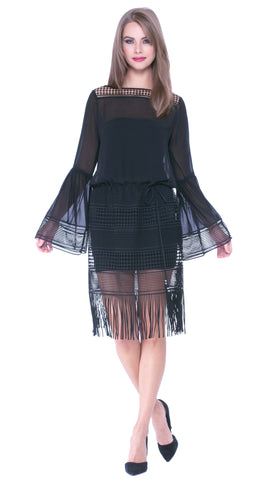 Analice Fringe Hem Dress