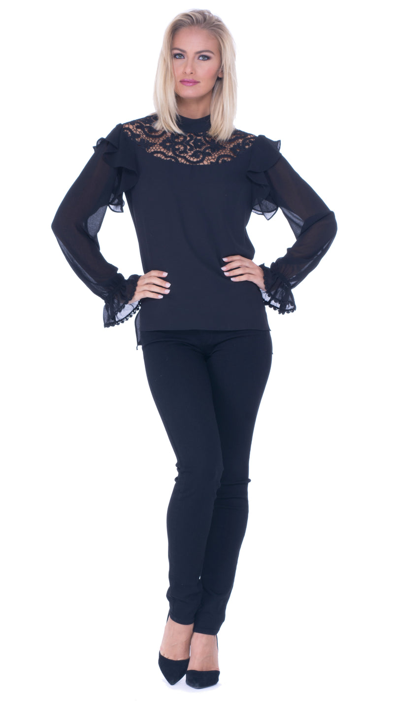 Lisette Lace High Neck Top