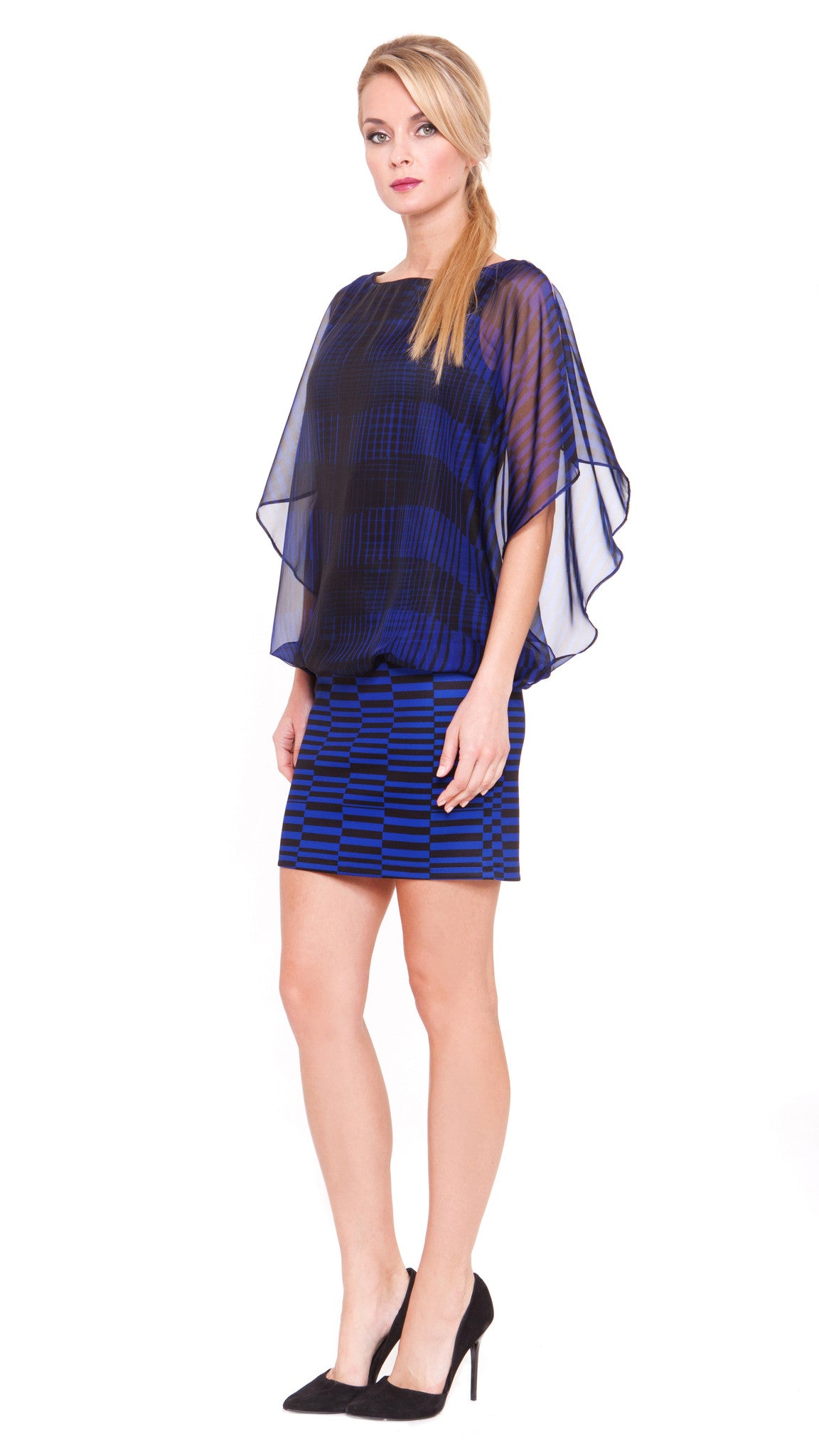 Jewel Open Flutter Sleeve Dress