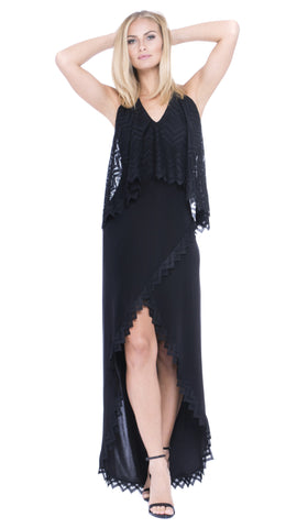 Kelsa Chevron Lace Maxi Dress