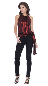 Marny Metallic Blouson Halter Top