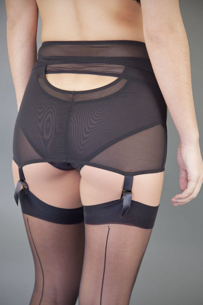 retro suspender belt girdle garter cut out black shaping shaper roll on vintage