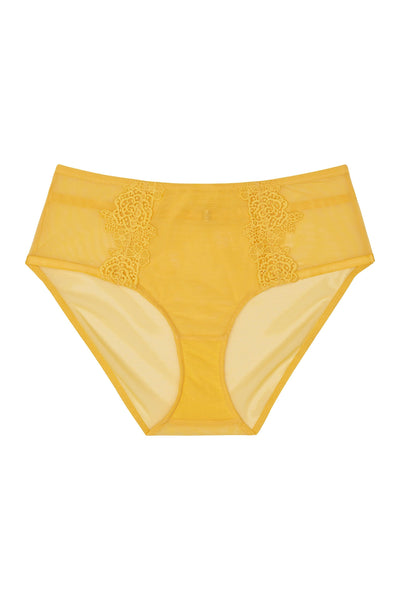 Playful Promises Vivienne Mustard Net Satin and Lace High Waist Curve Brief
