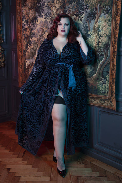 FFFB Teal devore long robe curve