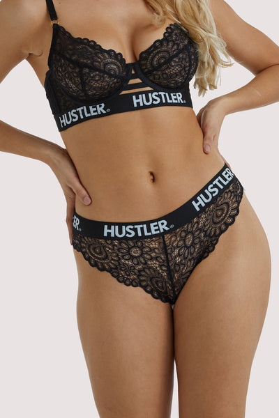 Hustler Branded Black Lace Brief