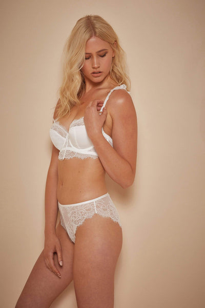 Wolf & Whistle Millie Demi Padded Eyelash Lace Bra Ivory B - G