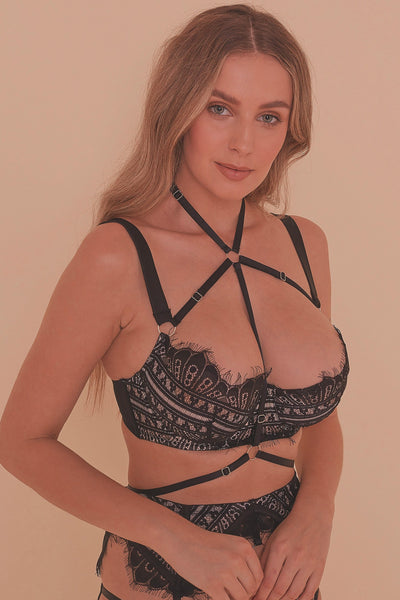 Sky Pearl Quarter Cup Lace Harness FB Bra