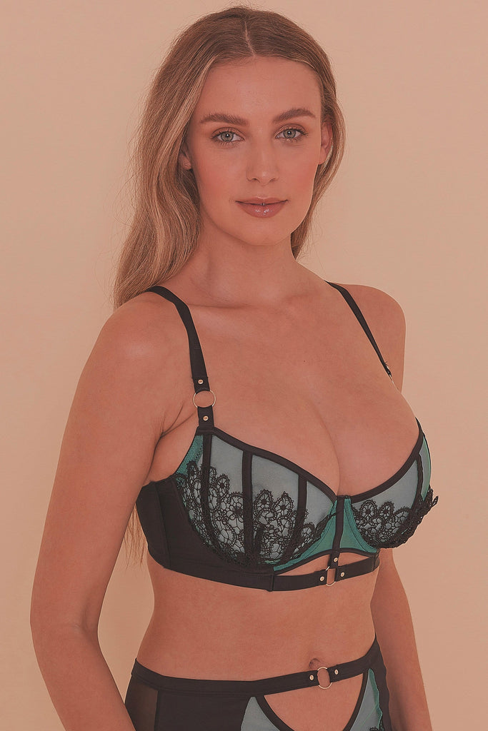 Emelda Ring Detail Satin & Lace Bra DD/E - I Cups