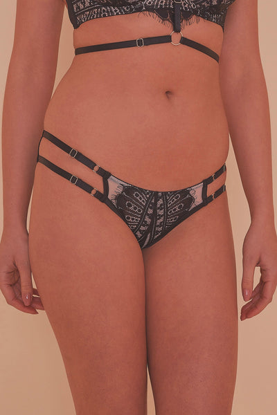 Sky Pearl Lace Harness Core Brief