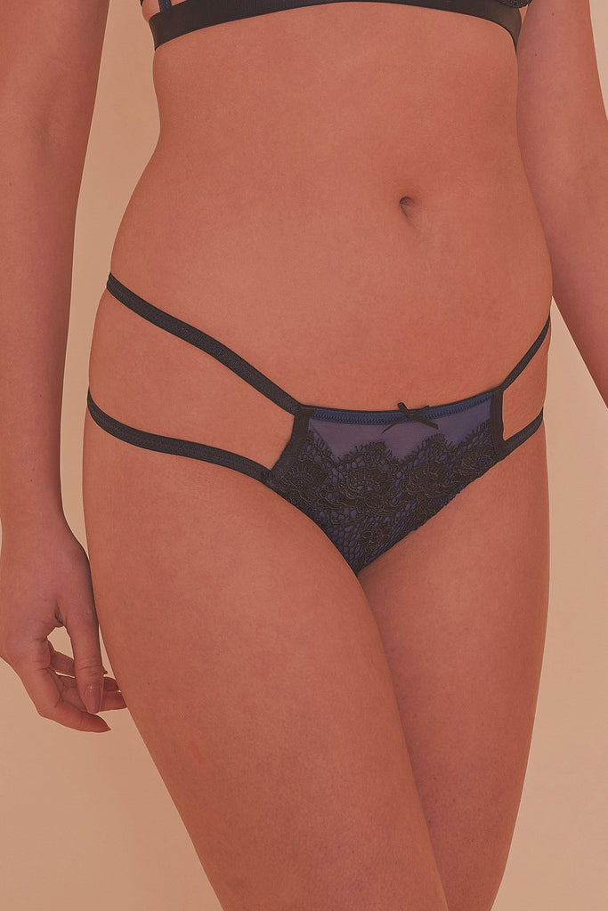 Tabitha Blue Embroidery Strappy Hipster Brief