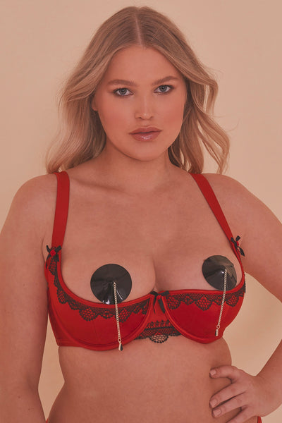 Arlene Curve 1/4  Cup Red Satin Black Lace Bra
