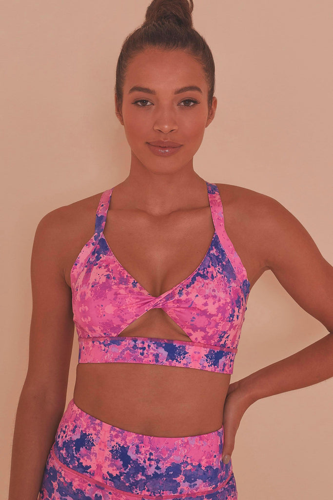 Wolf & Whistle Pink Marble Twist Front Sports Bra